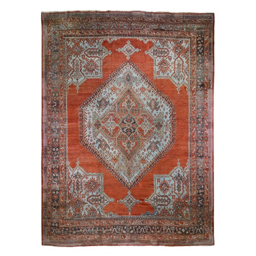 Oversized Red Antique Turkish Oushak Big Square Open Field Pure Wool Hand Knotted Oriental