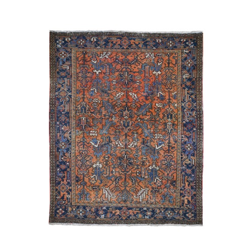 Burnt Orange Antique Persian Heriz Worn But Clean Pure Wool Hand Knotted Oriental Rug