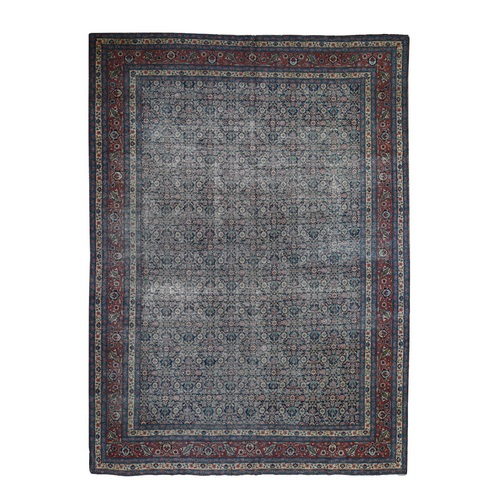 Navy Blue Antique Persian Tabriz Fish Design Worn But No Holes Clean Hand Knotted Oriental Rug