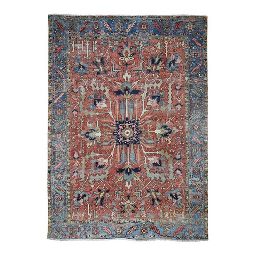 Red Antique Persian Heriz Some Wear Clean Hand Knotted Oriental Rug