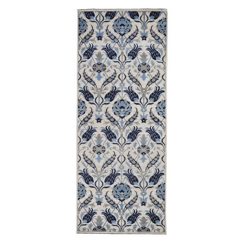 Arts and Crafts Wide Runner Modern Hand Knotted Oriental