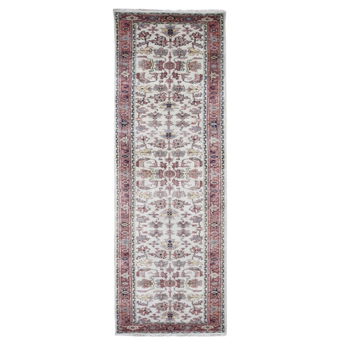Ivory Heriz Revival All Over Design Pure Wool Hand-Knotted Oriental Runner