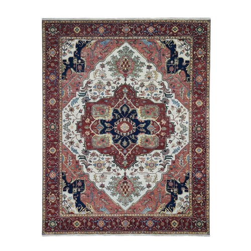 Red Antiqued Heriz Re-Creation Pure Wool Hand Knotted Oriental Rug