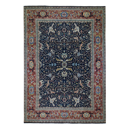 Blue Oversized Antiqued Heriz Re Creation Pure Wool Hand Knotted Oriental Rug