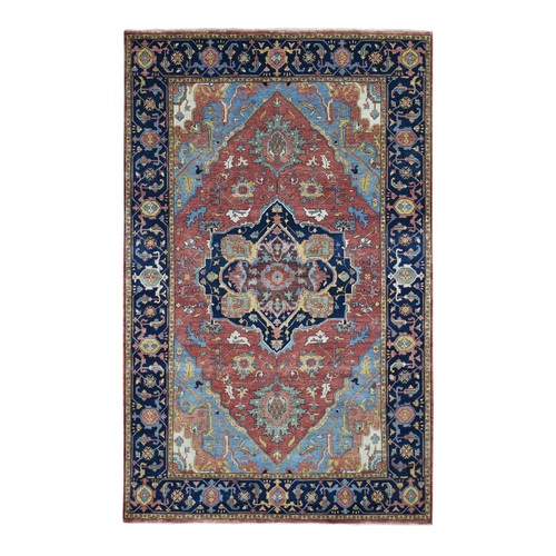 Antiqued Heriz Re creation Pure Wool Hand Knotted Oriental