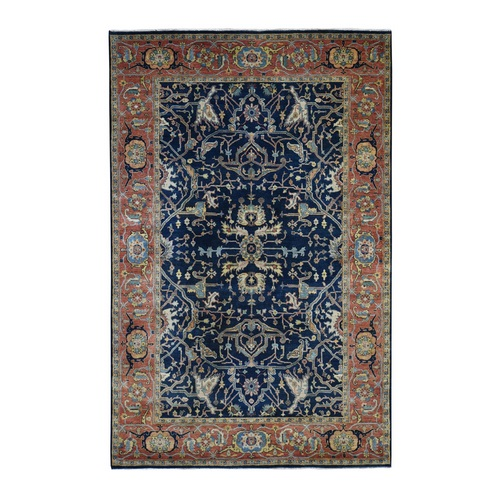 Antiqued Heriz Re Creation All Over Design Pure Wool Hand Knotted Oriental