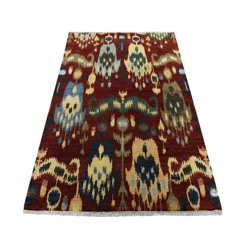 Red Ikat Uzbek Design Hand Knotted Pure Wool Oriental