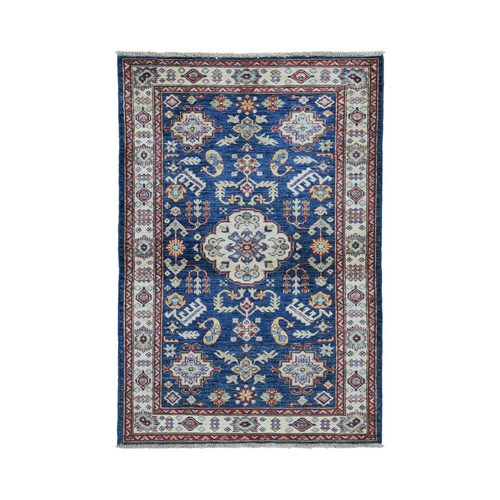 Blue Super Kazak Geometric Design Pure Wool Hand Knotted Oriental Rug