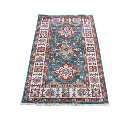 Green Super Kazak Pure Wool Geometric Design Hand Knotted Oriental