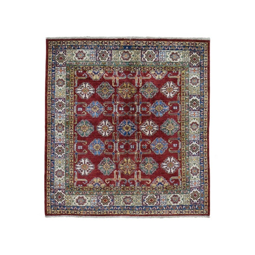 Square Red Super Kazak Geometric Design Pure Wool Hand Knotted Oriental