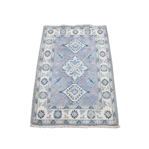 Gray Vintage Look kazak Geometric Design Pure wool Hand Knotted Oriental