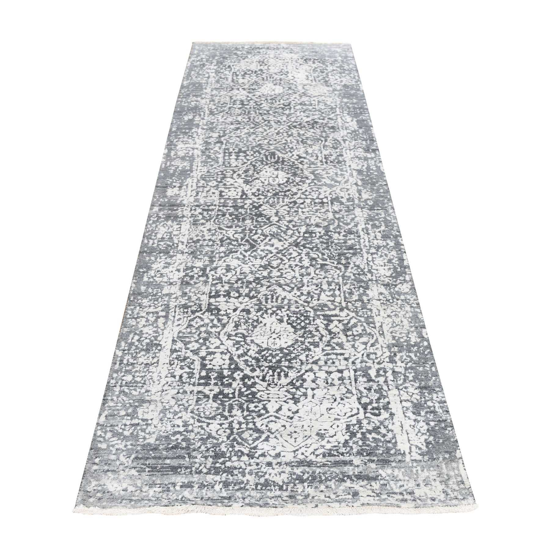 Gray Broken Persian Design Tone on Tone Runner Wool and Silk