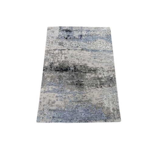 Hand-Knotted Abstract Design Hi-Lo Pile Wool And Silk Oriental Rug
