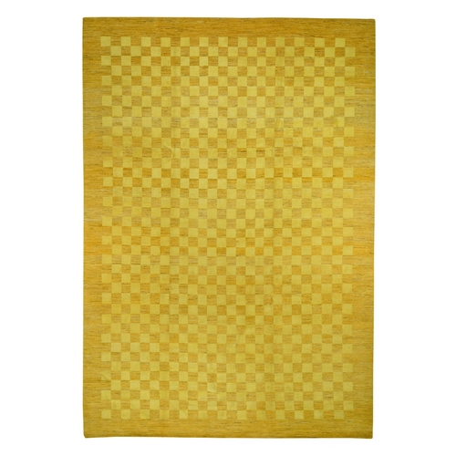 Yellow Modern Gabbeh Pure Wool Hand Knotted Oriental
