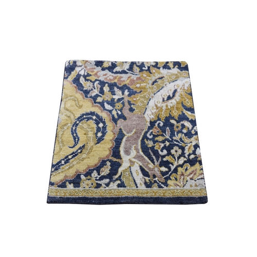 Navy, Gold Hunting Design Wool And Silk Square Sampler Hand Knotted Oriental