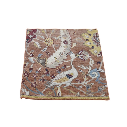 Square Brown Birds Design Pure Wool Hand Knotted Oriental