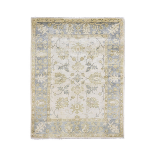 Ivory Oushak Hand Knotted Pure Wool Oriental