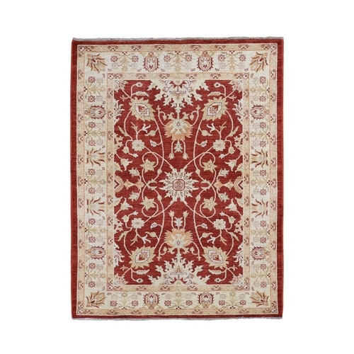 Red Ziegler Mahal Oushak Pure Wool Hand Knotted Oriental