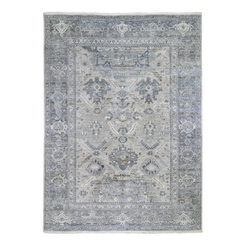 Hand Knotted Grey Pure Silk And Textured Wool Oushak With Geometric Motif Oriental