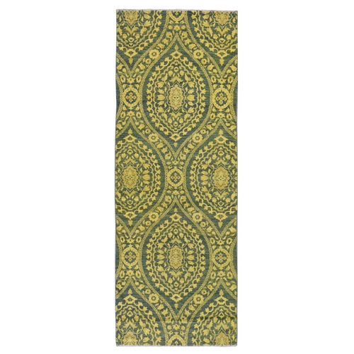 Green Wide Runner Hand Knotted Overdyed Peshawar Pure Wool Oriental