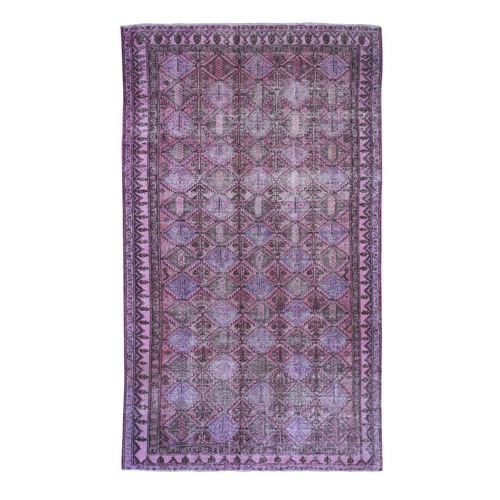 Overdyed Persian Bakhtiari Worn Pile Wide Runner Hand Knotted Oriental