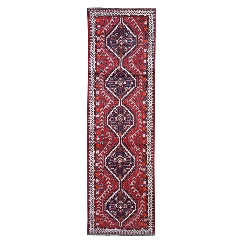 Red New persian Shiraz Pure Wool Narrow Runner Hand Knotted Oriental