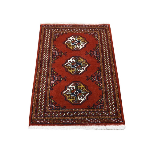 Hand Knotted Red Turkoman Bokara Pure Wool Oriental