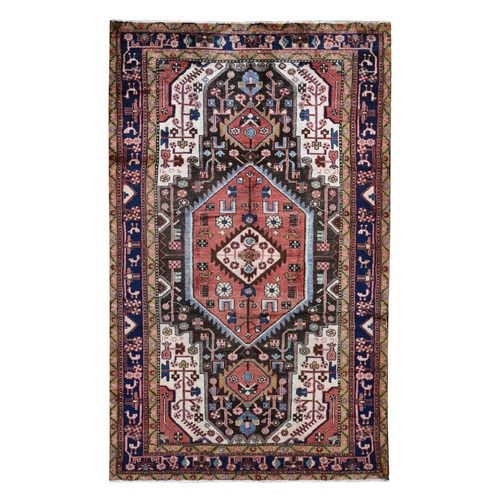 Salmon New Persian Nahavand Pure Wool Hand Knotted Oriental Rug