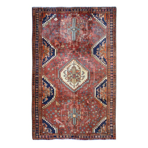 Red New Geometric North West Persian With Birds Hand Knotted Oriental