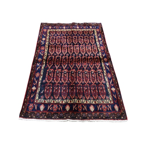 Blue Vintage Persian Hamadan With Boteh Design Pure Wool Hand Knotted Oriental