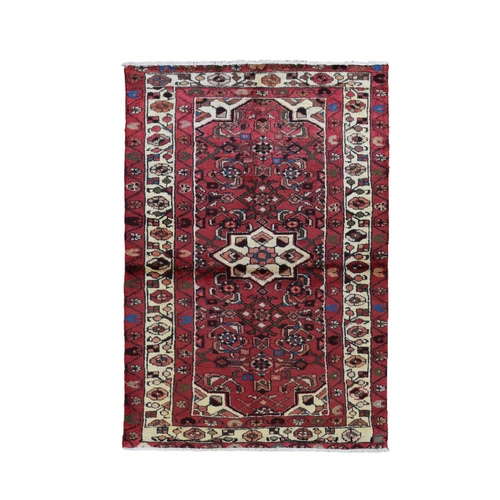 Red Vintage Persian Hamadan Pure Wool Hand Knotted Oriental Rug