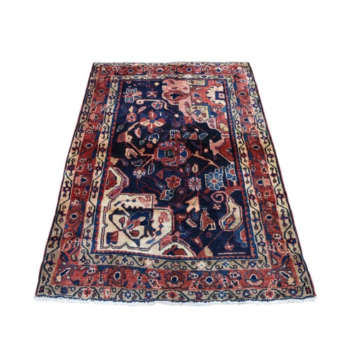 Blue New Persian Hamadan Pure Wool Hand Knotted Sampler Oriental