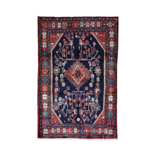 Blue Vintage Persian Hamadan Exc Condition Hand Knotted Pure Wool Oriental Rug