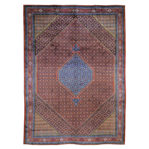 Colorful Persian Bijar Pure Wool Hand Knotted Oriental