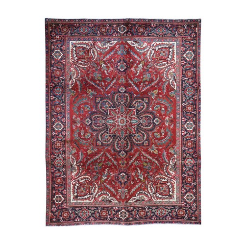 Red,Vintage Persian Heriz Flower Design Hand Knotted Oriental