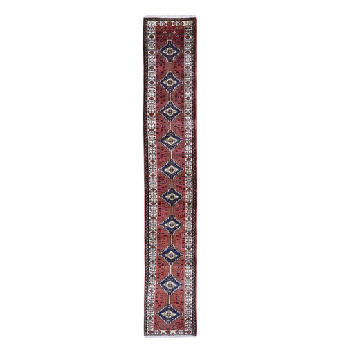 Red New Persian Pure Wool Narrow Runner Hand Knotted Oriental