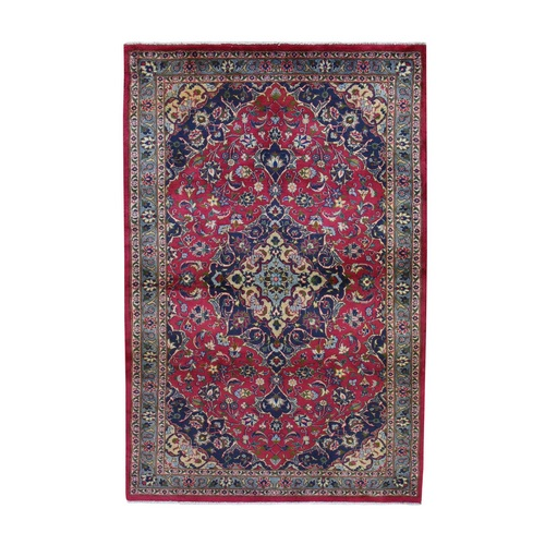 Red Vintage Mashad Pure Wool Hand Knotted Oriental