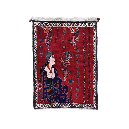 Red Pictorial Persian Shiraz ,Women Feeding Birds Pure Wool Hand Knotted Oriental