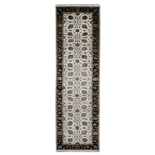 Rajasthan Wool and Silk Runner Hand Knotted Oriental