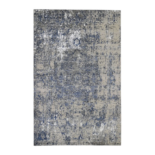 Blue-Gray Erased Heriz Design Wool and Silk Hand-Knotted Fine Oriental
