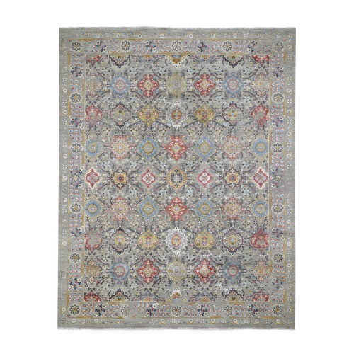 THE SUNSET ROSETTES Pure Silk and Wool Hand-Knotted Oriental Rug