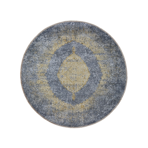 Round Gray Gold Persian Design Wool And Pure Silk Hand Knotted Oriental Rug