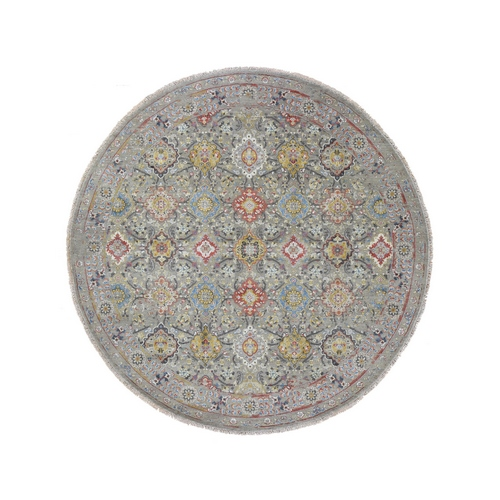 THE SUNSET ROSETTES Pure Silk and Wool Round Hand-Knotted Oriental Rug