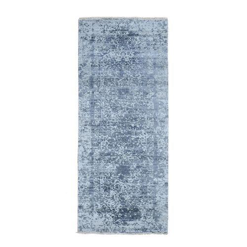 Hand-Knotted Broken Persian Design Wool And Pure Silk Grey Oriental Runner Rug
