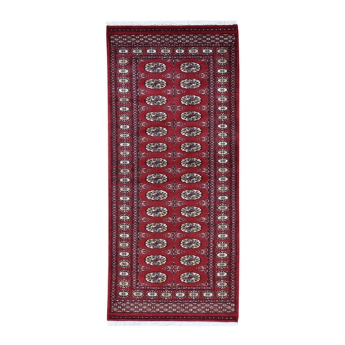 Red Bokara Elephant Feet Design Pure Wool Hand Knotted Oriental Runner