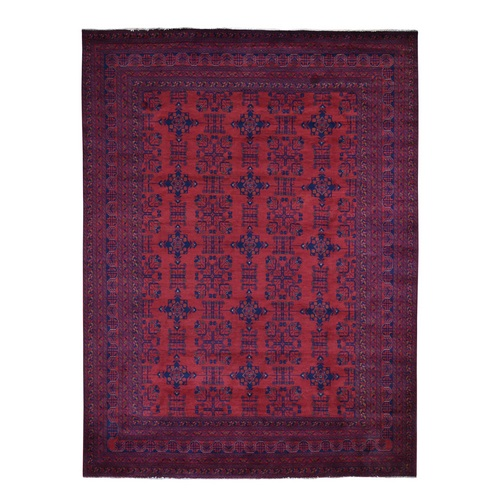 Red Afghan Ankoi Pure Wool Hand Knotted Oriental