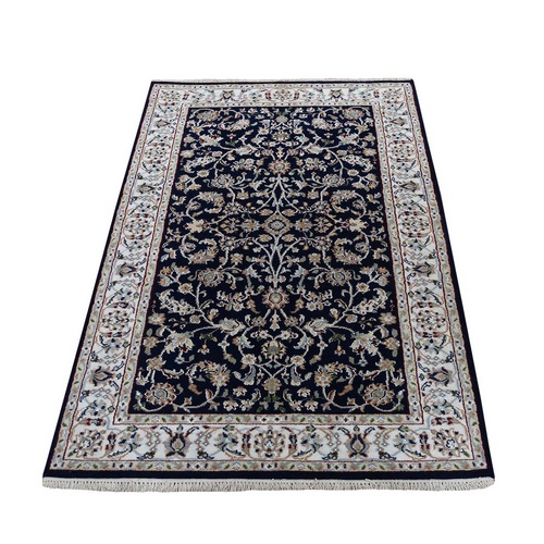 Navy Blue Nain Wool And Silk All Over Design 250 KPSI Hand Knotted Oriental Rug