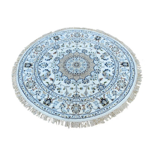 Ivory Round Nain Wool And Silk 250 KPSI Hand Knotted Oriental Rug