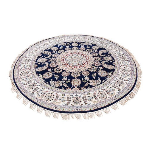 Navy Blue Round Nain Wool And Silk 250 KPSI Hand Knotted Oriental Rug