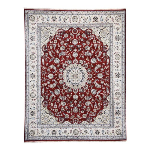 Red Wool And Silk 250 KPSI Nain Hand Knotted Oriental Rug